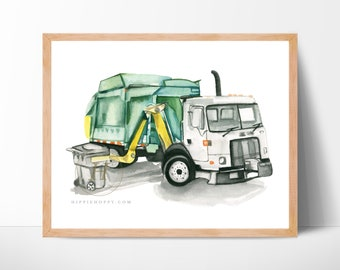 Garbage truck side loader print, Trash truck art, Kids room wall decor