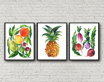 Fruit and Veggie Kitchen Print · Set of 3 · Kitchen Watercolor Decor · Kitchen Prints · Fruits & Vegetables Art Set