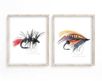 Fly Fishing Watercolor Prints Set of 2