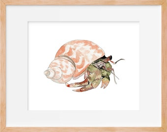 Hermit Crab 104 Print, Crab Watercolor, Crab Art, Beach House Decor, Crab Print, Ocean, Beach, Nautical, Wall Decor, Crab Wall Art