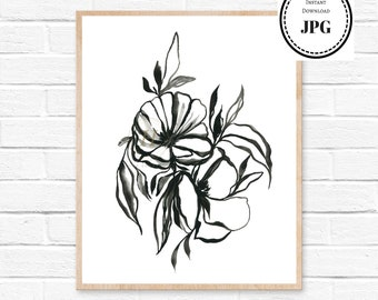 Black and white, minimalist print, floral watercolor, scandinavian art , abstract painting, monochrome painting, gallery wall decor, prints