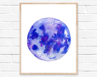 Full Moon Watercolor Painting Blue Purple Bedroom Decor New Home Gift Moon Phase Art Print  Abstract Art  Moon Painting Moon illustration