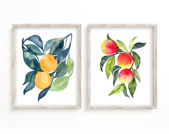 Oranges and Peaches Watercolor Prints Set of 2 Kitchen Art