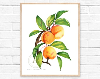 Apricot Watercolor Printable Art Unframed