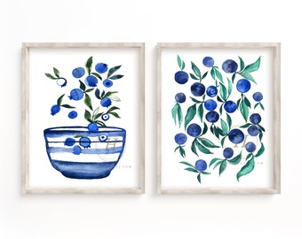 Blueberry and Plums Watercolor Prints set of 2
