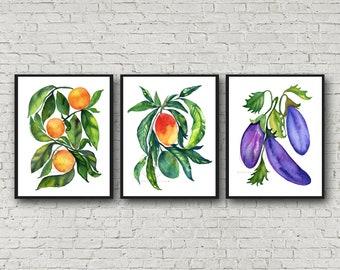 Orange Mangos Eggplant Prints, Set of 3, Watercolor wall art