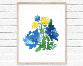 Flower Watercolor Print Blue and Yellow Art by HippieHoppy