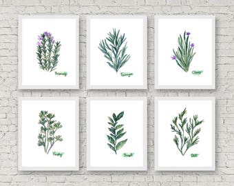 Watercolor Herb Print Set of 6 Watercolor Green Botanical Prints Kitchen Wall Art Home Decor Art Print Wall Decor Herb Set Herbs Art Cooking