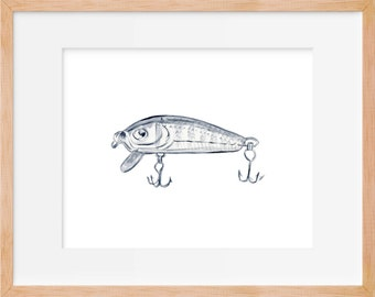 Fishing Lure Rustic Art Print
