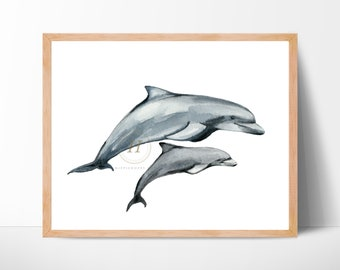 Dolphin Wall Art, Nautical Nursery Print, Dolphin Watercolor Print, Girls Room Decor, Sea Life Ocean Print, Dolphin Art