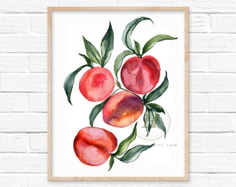 Peaches Watercolor Print