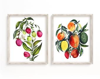 Large Fruit art Prints set of 2