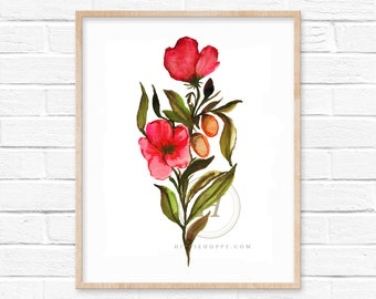 Flowers Pink Watercolor Print