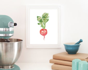 Radish Watercolor Print