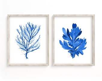 Coral and Seaweed Print Set of 2, Watercolor Nautical Art, Wall Art