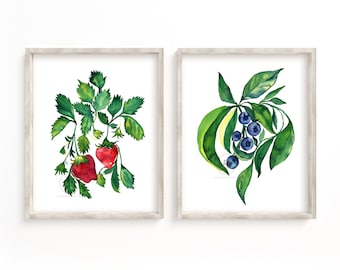 Strawberry and Blueberry Set of 2, Watercolor Fruit, Wall Art