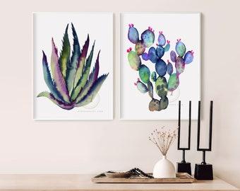 Cactus Watercolor Art Prints set of 2