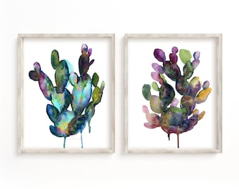 Large Cactus Watercolor Prints by HippieHoppy