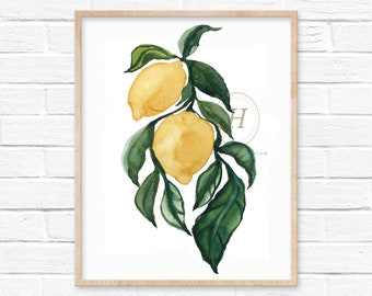 Lemons Watercolor Art Print
