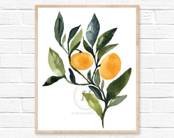 Orange Watercolor Print Kitchen Art by HippieHoppy