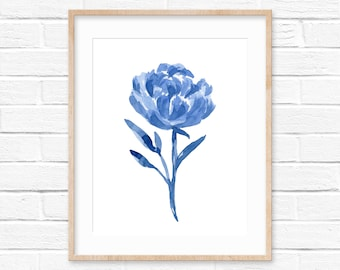 Blue Flower Watercolor Print No.0111, Watercolor Floral Art, Flowers Minimal Art, Wall Art Decor Blue, Flower Bloom, Watercolor Decor