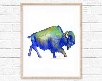 Buffalo Watercolor Print Bison Art by HippieHoppy