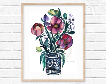 Flowers in Blue Jar Watercolor Print
