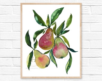Pears Print, Watercolor Pears, Kitchen Wall Art