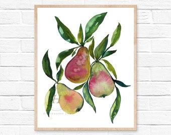 Pears Watercolor Print