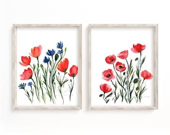 Large Poppy Watercolor Print Set