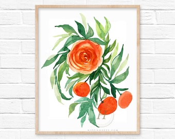 Flowers and Fruit Watercolor Print Floral Wall Art