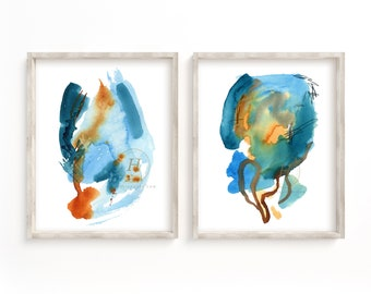 Abstract Blue Watercolor Prints Set of 2