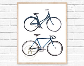 Bicycle print, Watercolor wall art