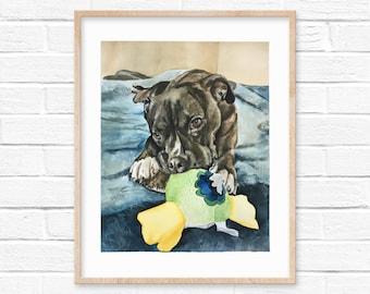 Custom pet portraits, Watercolor painting, Wall art