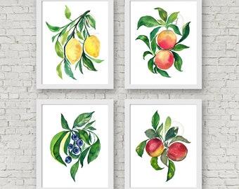 Watercolor Fruit Prints Set of 4 Lemons