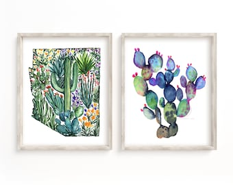 Large Arizona Watercolor Print Set of 2