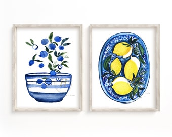 Blueberry and Lemon Watercolor Prints set of 2
