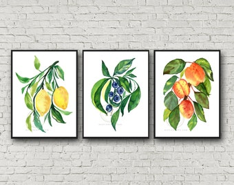 Lemons Blueberries and Peaches Print Set of 3
