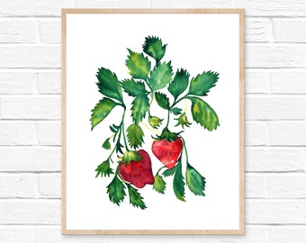 strawberry  strawberries strawberry print watercolor painting strawberry painting fruit watercolor print kitchen decor painting