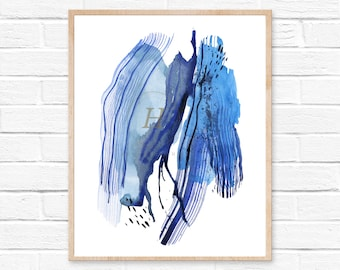 Abstract Print, Watercolour Wall Art, Modern Minimalist Painting, Navy Blue, Brush Stroke, Watercolor Painting, Large Poster, Ink