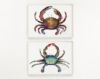 Crab Watercolor Art Print set of 2 by HippieHoppy