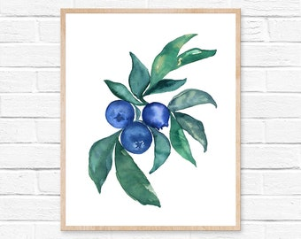 Blueberry Art Blueberry Kitchen Wall Art Watercolor Blueberry Print Blueberry Illustration Nursery Print Farmhouse Food Print Watercolor Art