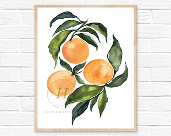 Orange Print, Citrus Print, Citrus Decor, Fruit Kitchen Art, Kitchen Decor, Kitchen Poster, Kitchen Print, Modern Decor, Orange Art,