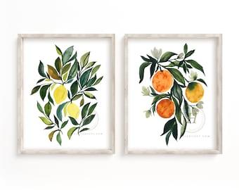 Lemon and Orange Watercolor Art Print set of 2