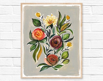 Bold Colored Wild Flower Art Print, Living Room Décor, Watercolor Floral Art, Spring Watercolor Art