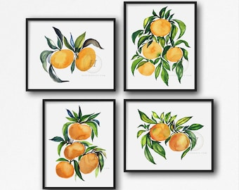 Oranges Watercolor Print, Set of 4 by HippieHoppy