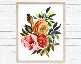 Large Flower Watercolor Print Wall Art
