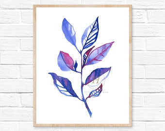 Blue and Pink Botanical, Blue Leaf Print, Blue Watercolor, Leaf, Leaf Art, Plant Art, Leaf Wall Art, Leaf Art, Botanical