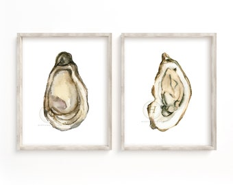 Watercolor Oyster Art Print Set of 2, Oyster Painting, Gallery Wall Art