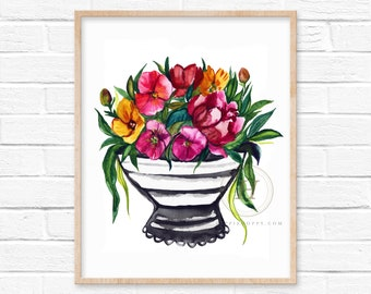 Flower Watercolor Print Wall Art by HippieHoppy